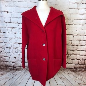 Eileen Fisher Red Wool Cashmere Blend Peacoat